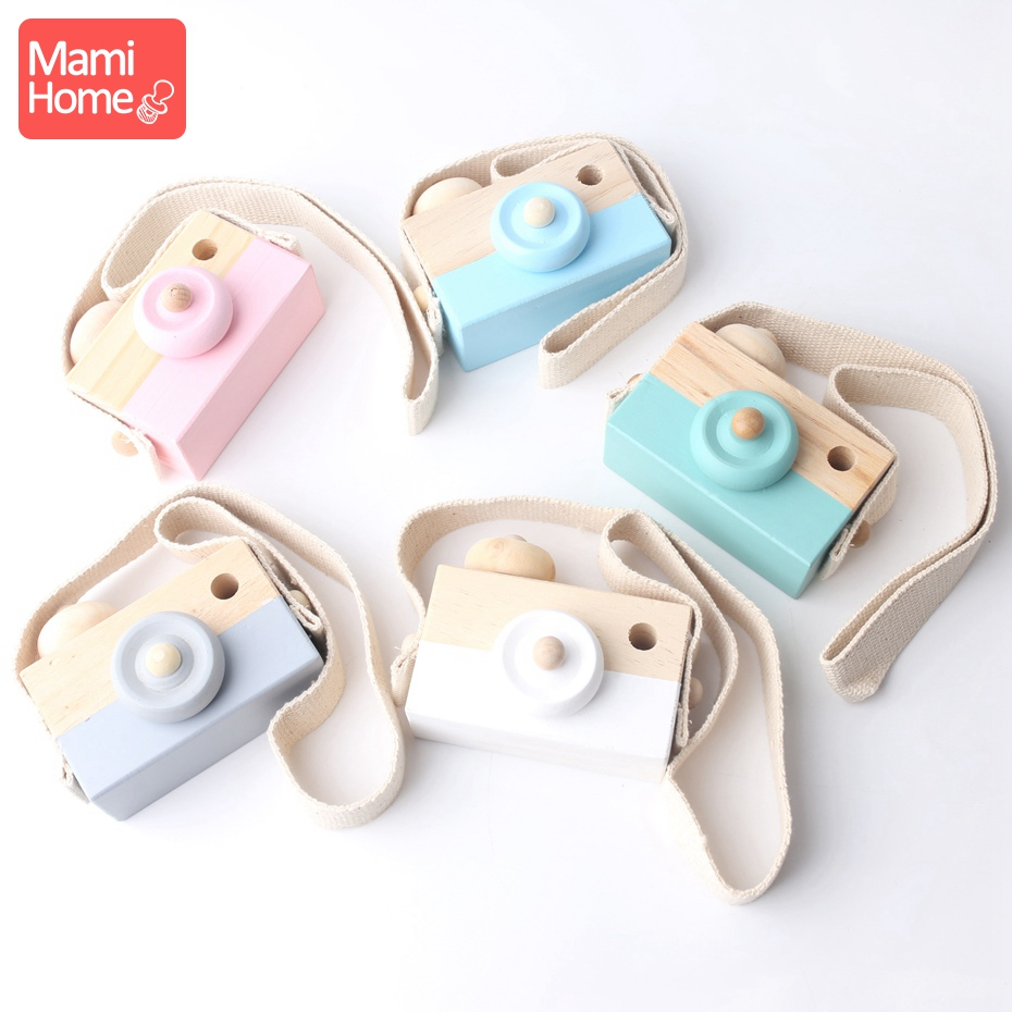 Mamihome 1pc Natural Wooden Lovely Camera Teeth Tooth Fixing Device Baby Crib Toy Organic Teether Pendant Baby Play Gym Teether