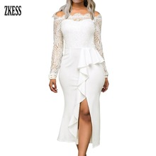 Zkess Women White Ruffle Detail Sheer Floral Lace Off Shoulder Midi Dress Sexy Ruched Slit Long Sleeve Party Midi Dress LC610537 недорого