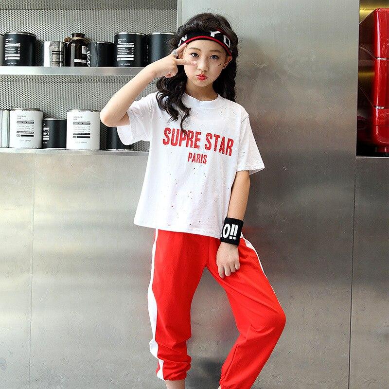 Girls Boys Ballroom Jazz Hip Hop Dance Competition Costume Kids Street Dance Hip Hop Clothing Jazz Dance Costumes 2pcs Set Y899