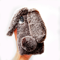Luxury Cute Rabbit Ear Hair Fur Soft TPU Bling Phone Case For Apple IPhone 7 7