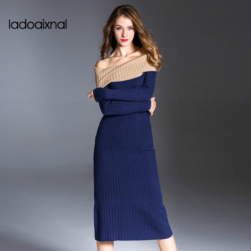Iadoaixnal высокое качество Слэш шеи полный рукав bodycon тонкий пакет хип свитер платье женщины сексуальный свободного покроя весна трикотажное платье