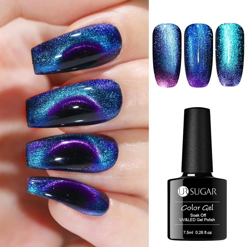 UR SUGAR 9D Chameleon Cat Eye Nail Gel Polish Magnetic UV Gel Varnish Gold Color Soak Off UV LED Nail Art Gel Lacquer Manicure 1