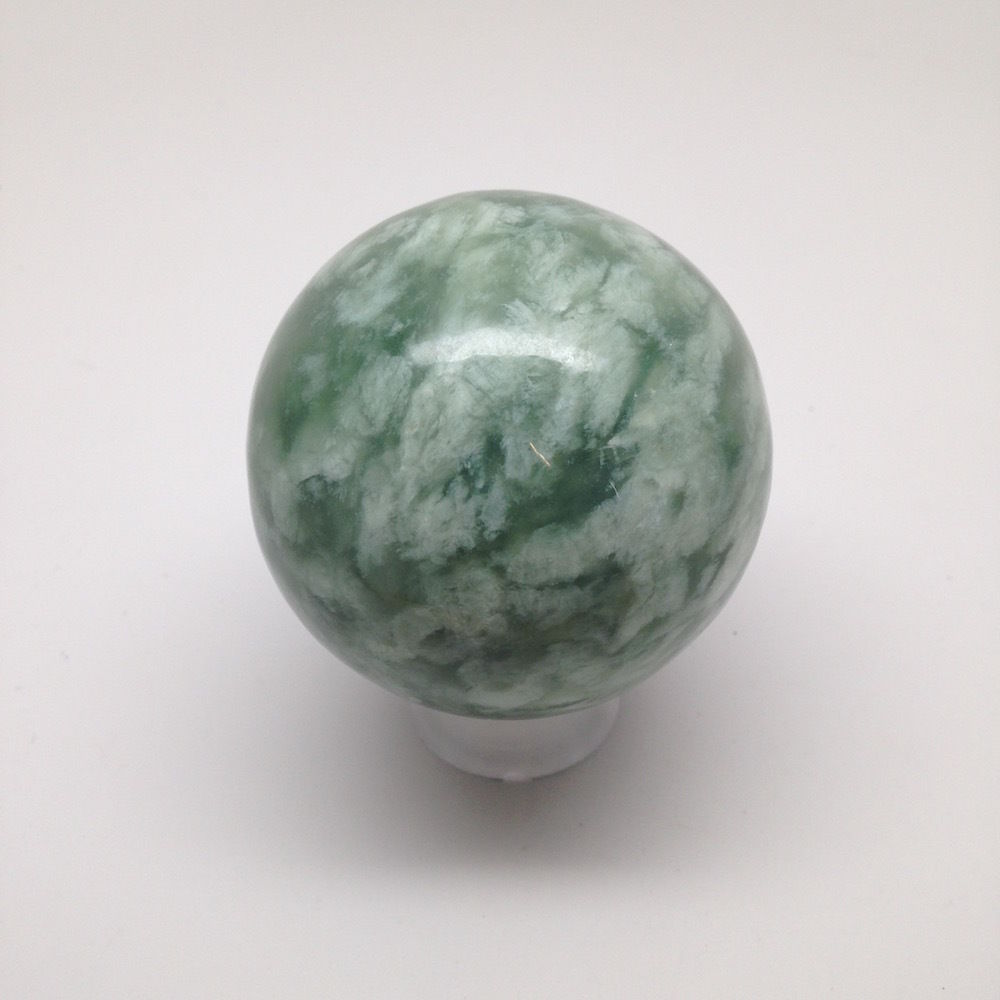 398.8 Grams Natural Green Nephrite Jade Ball/Sphere Crystal Healing @Afghanistan