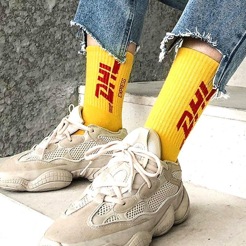 Men Hip Hop Cool   Socks   Crazy Sporty Skateboard Long   Socks   Unisex Women Harajuku Teen Funky DHL Letter Novelty Crazy   Socks   Yellow