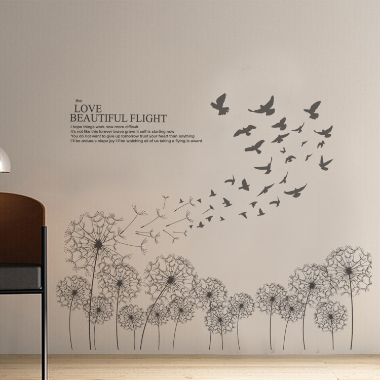 Black dandelion flying with birds wall stickers living Beautiful wall stickers for living room