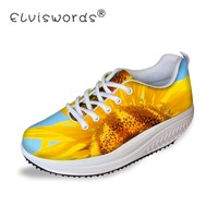 ELVISWORDS Rose Sunflower Prints Flat Platform Shoes for Women Fashion Ladies Casual Height Increasing Swing Shoes Shape Ups