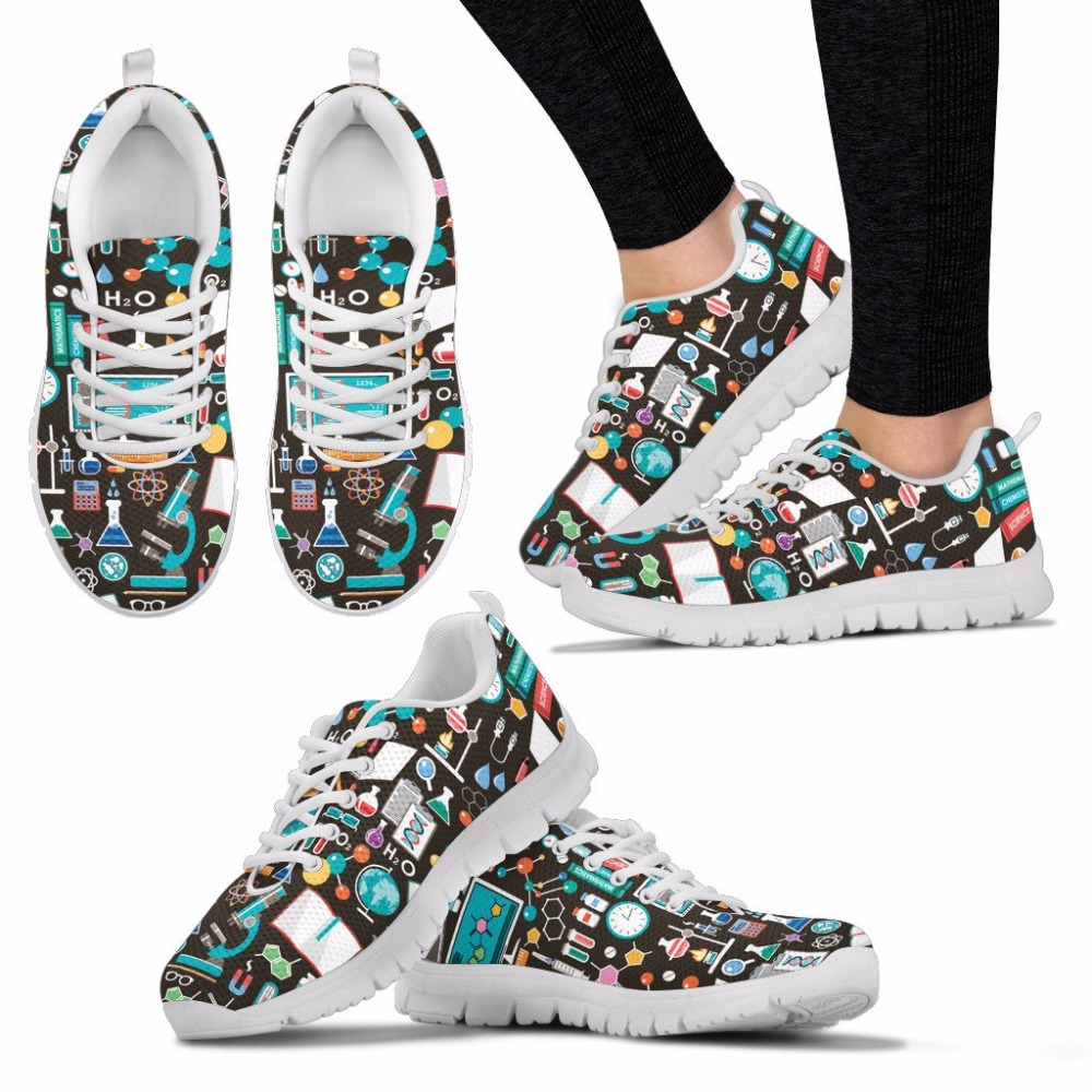 doginthehole Science Print Shoes Woman Non slip Flats Fashion Spring Travel Breathable Mesh Sneakers Girl Shoes Zapatillas Mujer