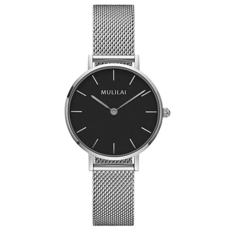 32 мм Роскошные Брендовые женские кварцевые часы со стальным браслетом модные простые женские часы из розового золота dw стиль+ браслет ЖЕНСКИЕ НАРЯДНЫЕ часы - Цвет: Silver-Black