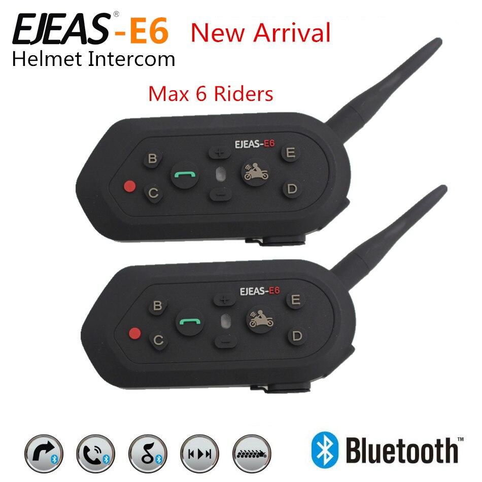 ФОТО 2PCS E6 Wireless Full Duplex Helmet Intercom BT Interphone 1200M Motorcycle Bluetooth Helmets Headset Walkie Talkie for 6 Riders