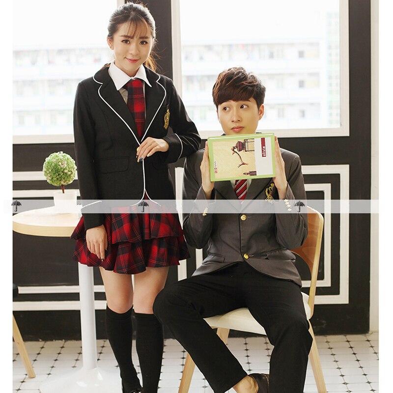 Uniforme scolaire japonais britannique pour filles et garçons hiver lycée Senior cardigan chemise jupe à carreaux femmes survêtement 5 ensembles - 5