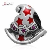 925 Sterling Silver Magic Hat Encanta Granos Con CZ y Esmalte rojo Estrellas Fit Pandora Pulsera Del Estilo de DIY Joyas Originales haciendo