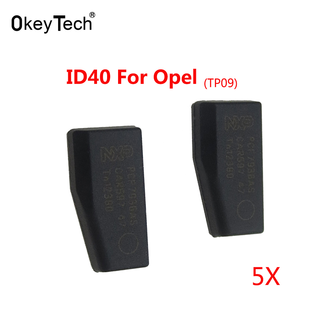 Okeytech 5 шт./лот ID40 чип для Opel углерода транспондер чип керамики Авто Ключи для Opel crypto ID40 tp09 для Opel ключевые фишки