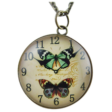 Fashion Simple Pocket Watch Pattern Ellipse Jewlery Women Girls Long Sweater Necklace(Not a real watch), Double Butterfly Yellow