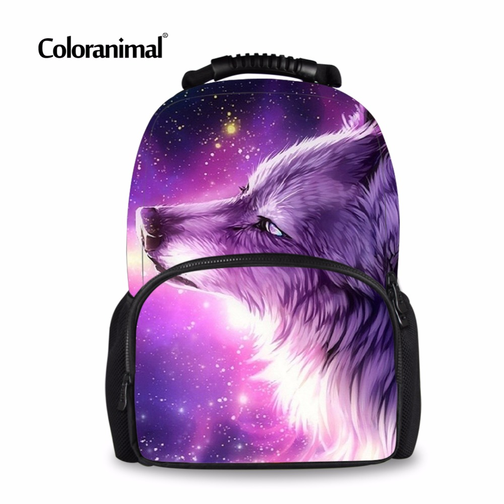 Coloranimal Cool 3D Animal Purple Wolf School Backpack for Children Panda Print Boy Girl Shoulder School Bag Wen's Kid Sack Bags худи print bar panda santa