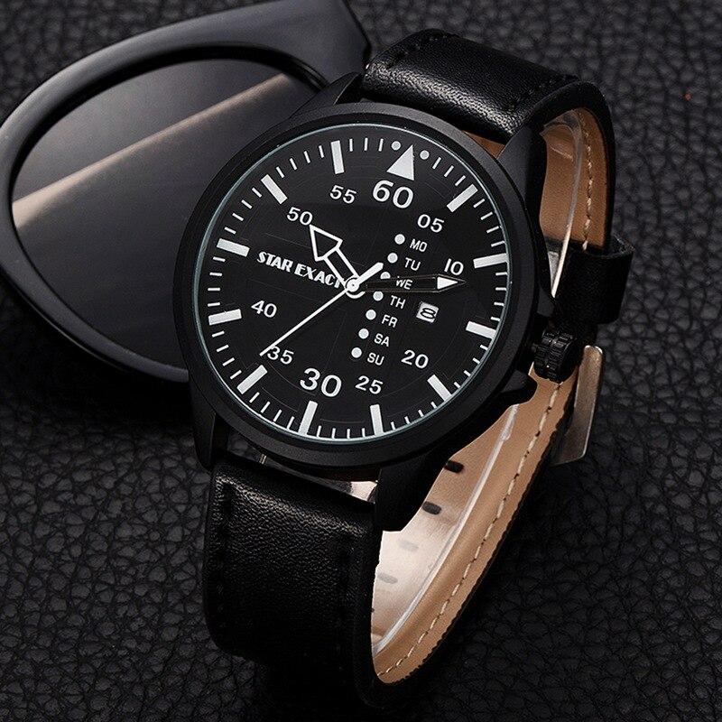 Luxury Top Brand Men Creative Watches Simple Black Business Quartz Wrist Watch Gift For Men Casual Calendar Male Sport Watch
