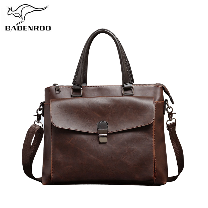 Badenroo Brand Business Leather Men Shoulder Messenger bags Vintage Handbags Male Designer Briefcase Tote Retro Crossbady Bags цена 2017