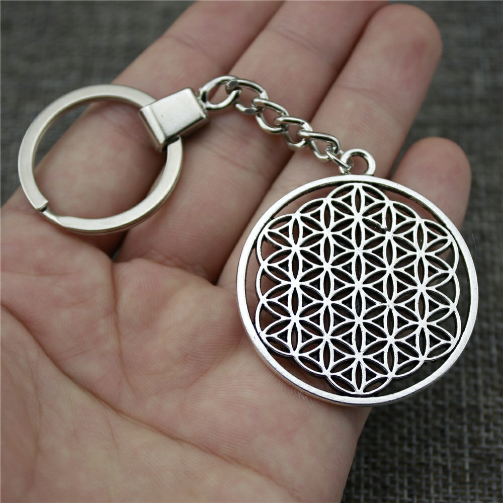 High Quality New Fashion 47*42mm (1.85*1.65 inches) The Flower Of Life, The Seed Of Life Key Chains Fashion Keyring moncler