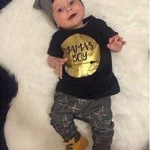 Одежда для новорожденных мальчиков летняя одежда Повседневная футболка с короткими рукавами и надписью «Mamas boy»+ штаны для малышей, комплект одежды из 2 предметов для маленьких мальчиков