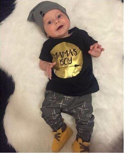 2019 Sommer 2stk Baby gutt klær sett Nyfødt Småbarn Spedbarn Casual T-skjorte Øverst + Langbukser Antrekk sett Gold Mamas Boy print