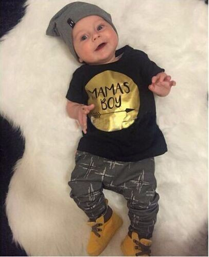 2019 zomer 2 stks baby boy kleding sets pasgeboren peuter zuigeling casual t-shirt top + lange broek outfits set goud mammas jongen print