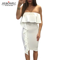 SEBOWEL White Asymmetric Ruffle Trim Strapless Bodycon Dresses Sexy Off Shoulder Club Dress