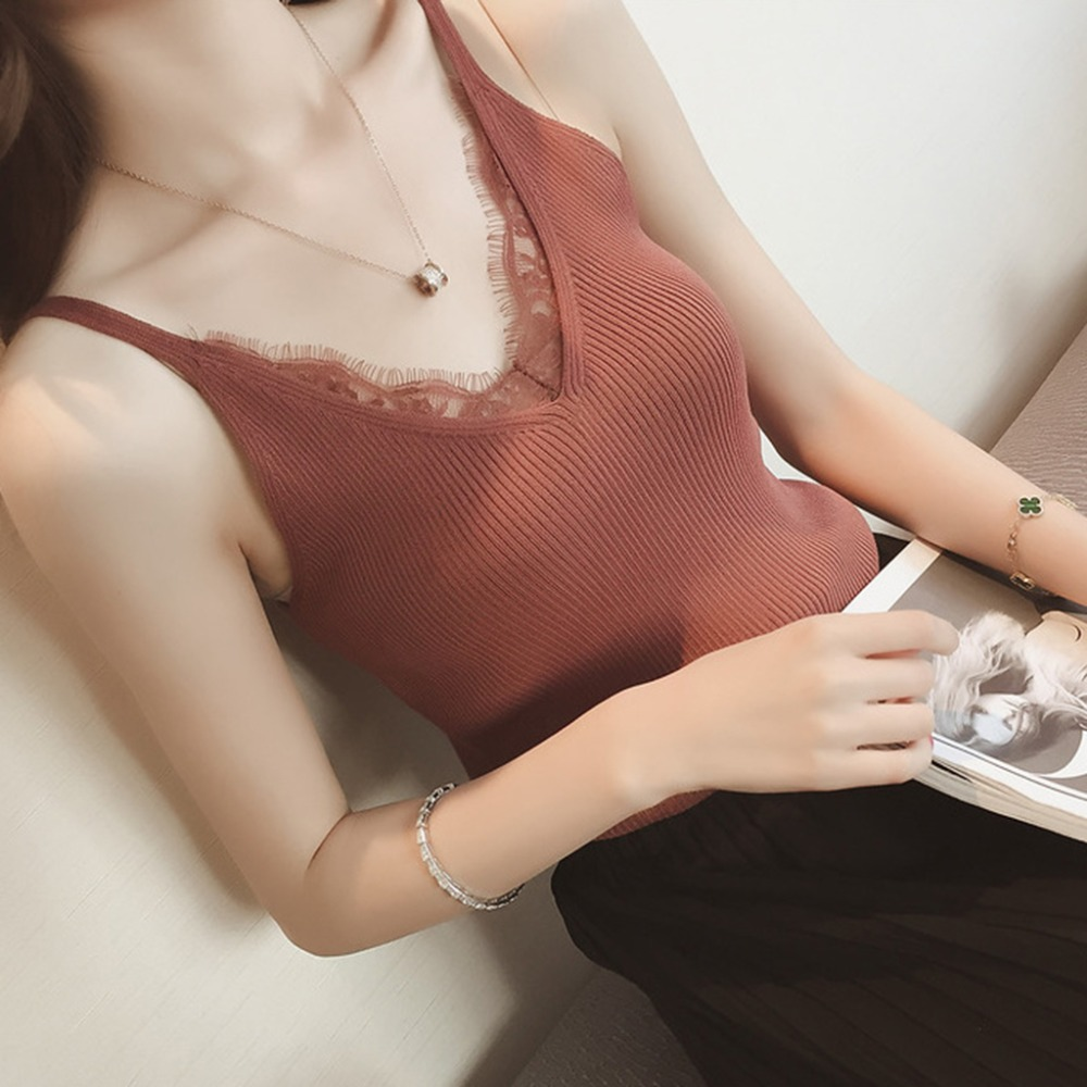 Fashion New Girls Summer Sleeveless Sexy Women Plain Camisole Lace Splicing Double V-neck Vest Slim Sling   Tank     Tops   7 Colors