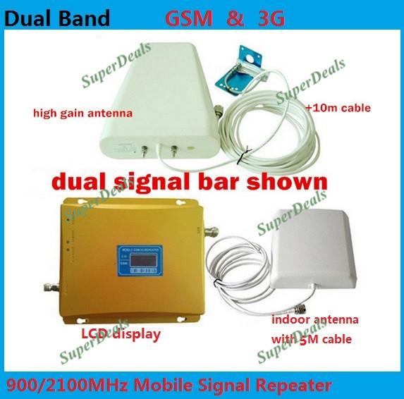 CONJUNTO COMPLETO LCD BOOSTER! de alta ganancia de banda Dual 2G, 3G KIT amplificador de señal GSM 900 3G 2100 de la SEÑAL del repetidor del amplificador doble barra de señal