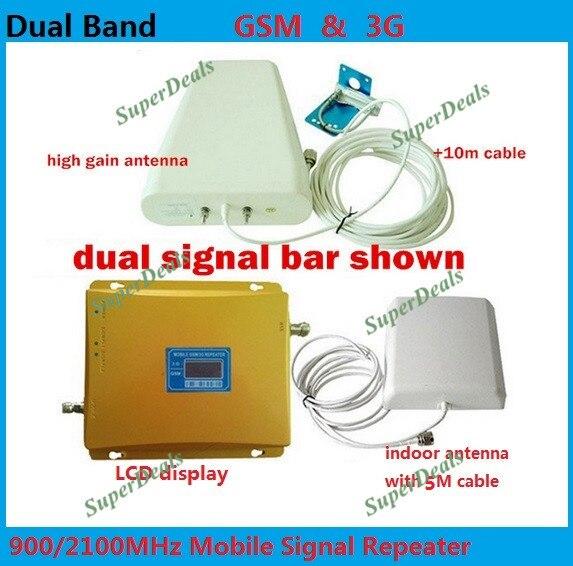 Full set LCD Booster! Alta Ganancia doble banda 2G, 3G Booster de señal kit GSM 900 3G 2100 signal repetidor amplificador doble barra de señal