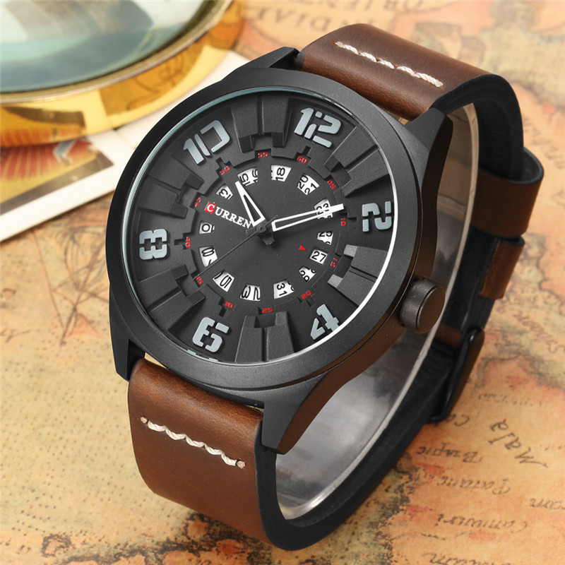 CURREN Military Sport Quartz watch Men Fashion Casual Army Top Brand Luxury Leather Quartz-Watch Male Clock Wristwatch new 2017 new luxury brand fashion sport quartz watch men business watch russia army military corium leather strap wristwatch hodinky