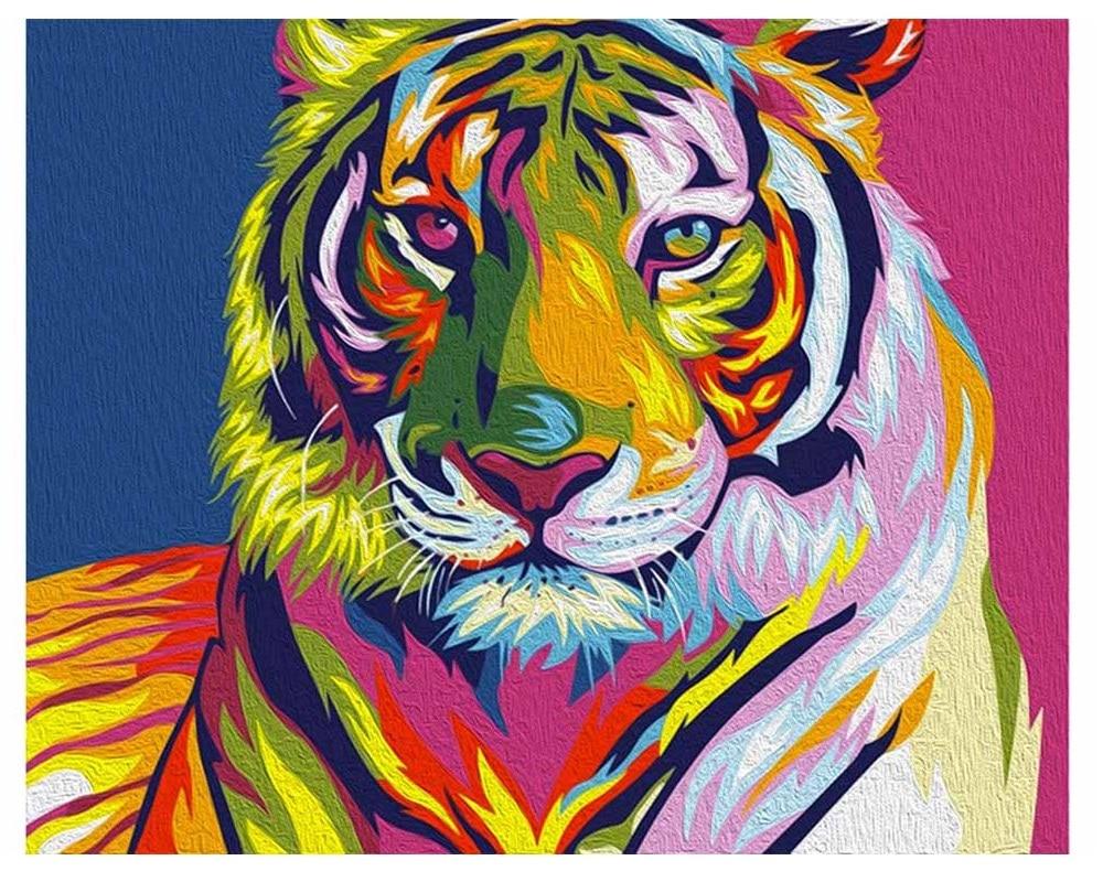 Pintura Al óleo De Diy By Números De Imagen Sobre Lienzo Adultos Para  Colorear Pintura De Acrílico Pintura By Number Artesanía Tigre Cuadros  Decoracion ...