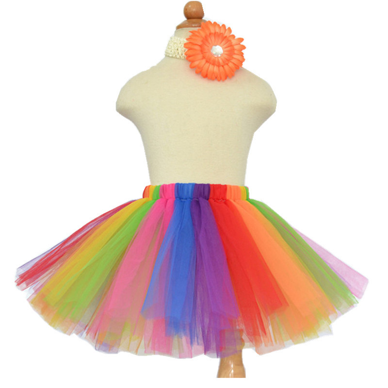 Hot Sale Rainbow Tutu Kids Tutu Skirt Girl Fashion Tulle Skirt Baby Tutus Princess Fluffy Pettiskirts For Party Ball Gown 1-10Y