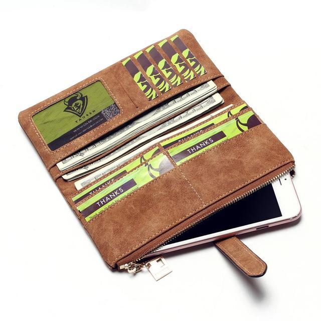 Billeteras nuevas carteras de moda para mujer con cordón de cuero Nubuck con cremallera Cartera de diseño largo para mujer dos veces más embrague de Color
