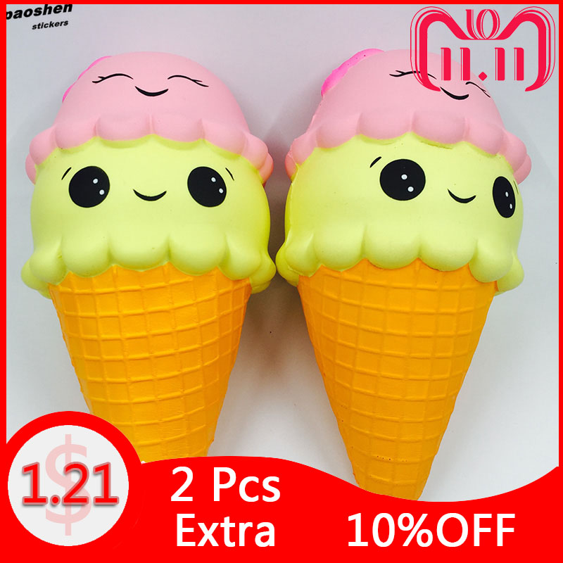 цена на 1Pcs Kawaii Soft Jumbo Squishy Ice Cream Slow Rising Fun Poo Squishes Lovely Phone Straps Gift Toys For Children Boys and Girls