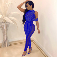 Elegant Hot Drilling Sheer Mesh Patchwork Diamonds Jumpsuit O Neck Slim Perspective Jumpsuit Night Club Female Bodycon Jumpsuit