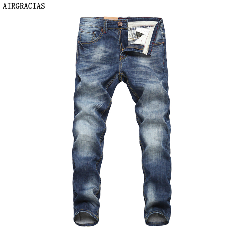 AIRGRACIAS Men   Jeans   Design Biker   Jeans   Strech Casual   Jean   For Men Hight Quality Cotton Male Long Trousers 32 33 34 36 38 40