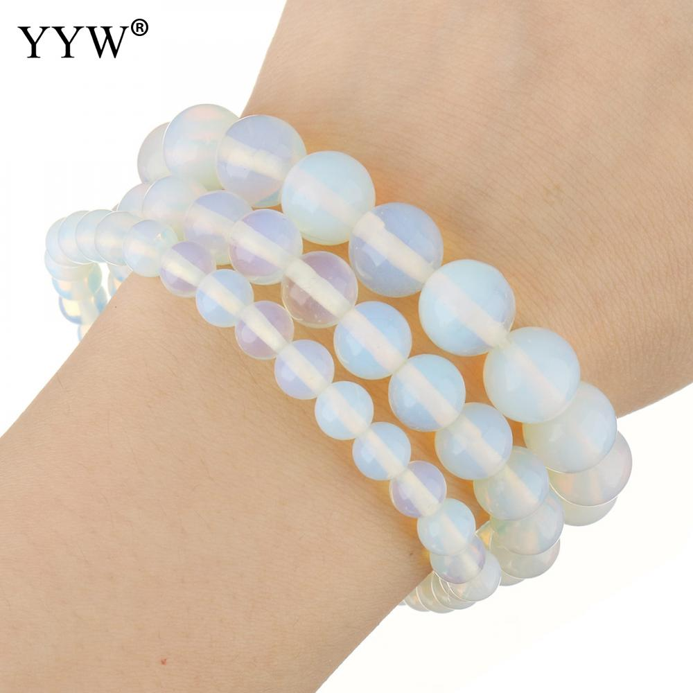 Bright Yyw Fashion Natural Stone Bracelet Cute 6/8/10/mm Opal Beads Bracelets Bangle For Women Wristband Jewelry Christmas Gifts Goods Of Every Description Are Available Bracelets & Bangles Chain & Link Bracelets