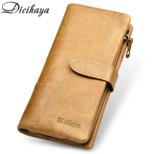 DICIHAYA Brand Genuine Leather Men Wallet High Capacity More Card Wallets Long Zipper Phone Bag Clutch Purse