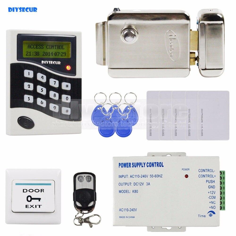 DIYSECUR RFID ID Card Keypad Door Access Control System Kit + Electric Lock  + Exit Button B100 diysecur magnetic lock door lock 125khz rfid password keypad access control system security kit for home office