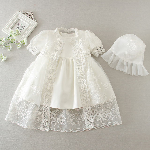 8883c42bd230 Christening Dress 3 Pcs Set Baptism Gown with Bonnet Hat Embroidered ...