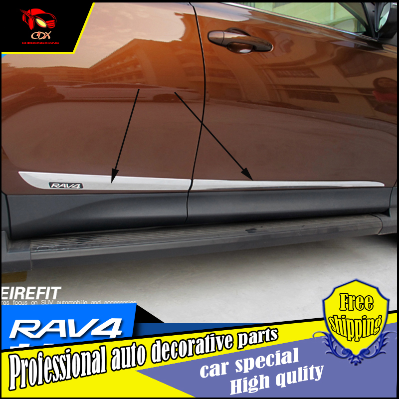 NEW Car ACCESSORIES FOR 2014 2015 2016 Toyota RAV4 ABS CHROME SIDE DOOR BODY LINE GARNISH MOULDING COVER PROTECTION CAR STYLING rebecca tatti платье rebecca tatti r508
