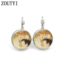 New/glamour fashion mother and child patterned glass earrings, convex concave ladies earrings.