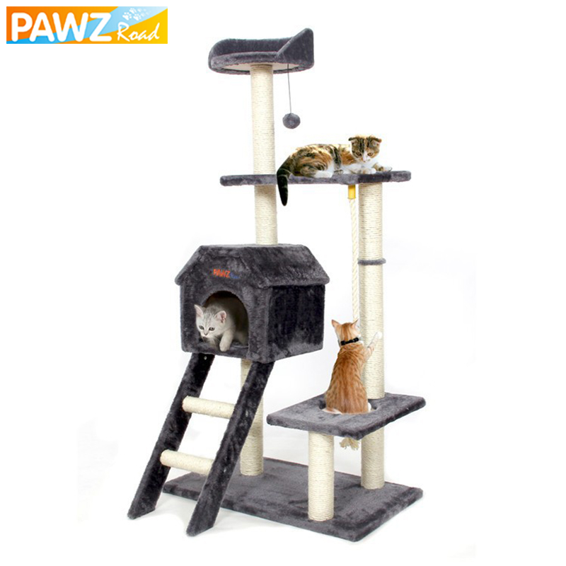 PAWZRoad Cat Jumping Toy with Ladder Scratching Wood Climbing Tree for Cat Climbing Fram ...