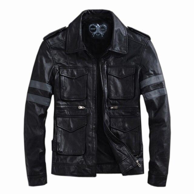 THOOO Brand Resident Evil classic leon explosion brown  Gentlemen Genuine LeatherJacket Coat Motorcycle M L XL 2XL 3XL 4XL 5XL