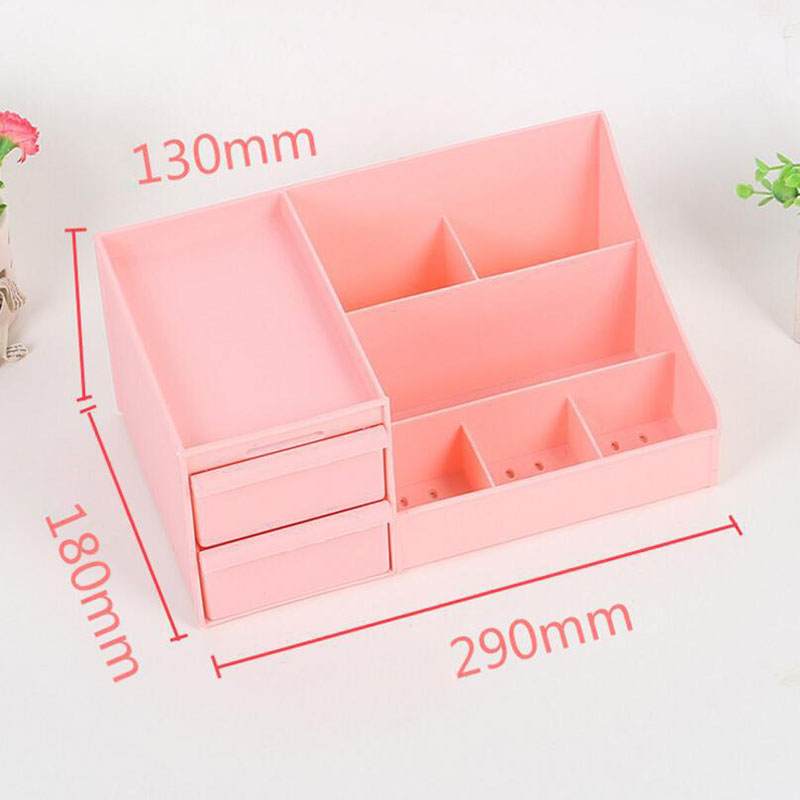 Image 4 - 2019 New Plastic Makeup Organizer Make Up Brush Storage Box with Drawer Cotton Swabs Stick Maker Storage Case Hot Sale-in Makeup Organizers from Home & Garden
