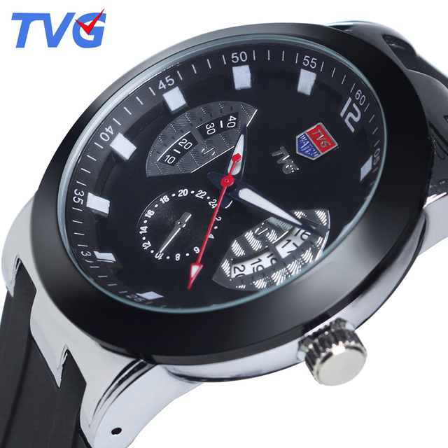 New Brand TVG fashion Ultra-Thin men's Quartz Watch Waterproof Black Silicone Strap Casual men Wristwatches reloj skmei