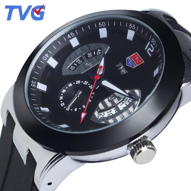 แบรนด์TVGแฟชั่นบางเฉียบหรูหราผู้ชายนาฬิกาควอทซ์กันน้ำซิลิโคนสายลำลองบุรุษนาฬิกาข้อมือRelogios Masculino