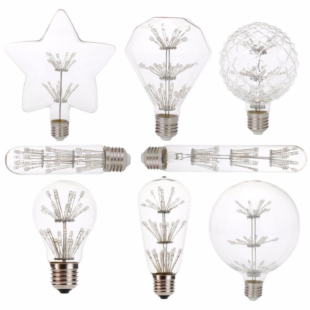 Antique Retro Vintage LED Edison Bulb E27 Filament Light Bulbs A60 G125 ST64 220V Clear Glass Candle Light Lamp bulb Home Light