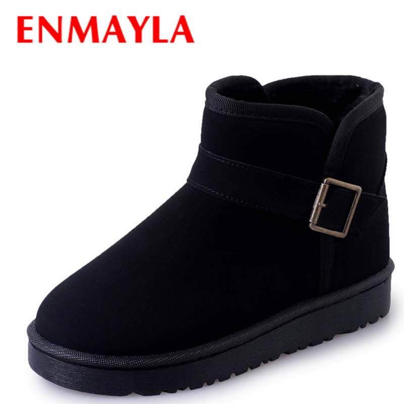 ENMAYLA Winter Boots Women Buckle Flats Shoes Woman Slip on Snow Boots Platform Ankle Boots for Womens Shoes Pink Gray Black