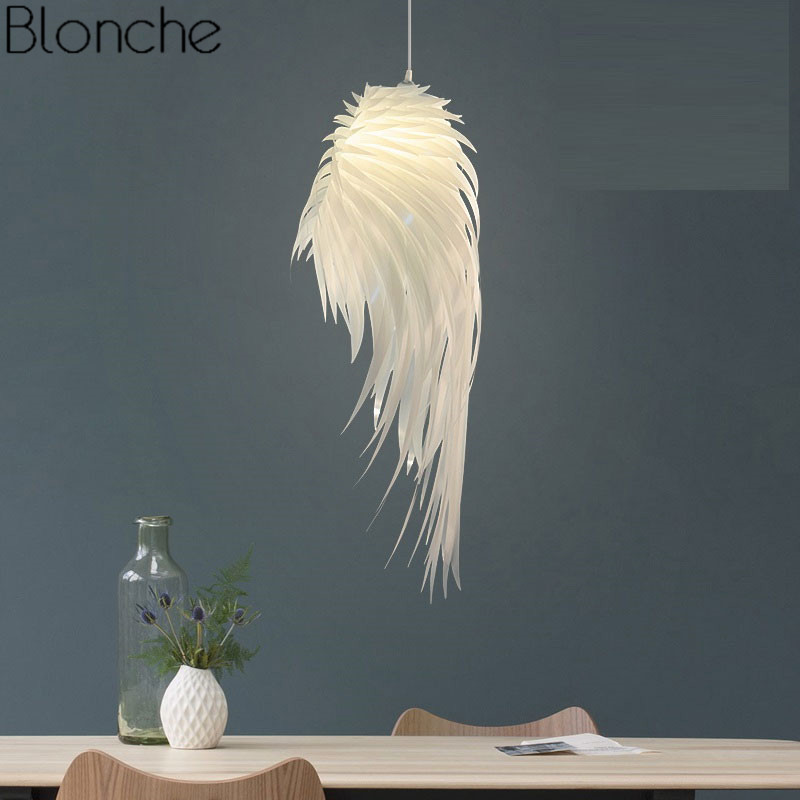 Modern PVC White Feather Pendant Lights Romantic Angel Wings Hanging Lamp Luminaire for Bedroom Home Decor LED Lighting FixturesModern PVC White Feather Pendant Lights Romantic Angel Wings Hanging Lamp Luminaire for Bedroom Home Decor LED Lighting Fixtures