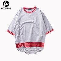 HZIJUE New Arrive Summer Men Fashion T Shitrs Long Hem Oversized Casual Kanye Brand Design T